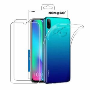 Honor 10 Lite - Pack de 2 films en verre trempé protection écran + coque
