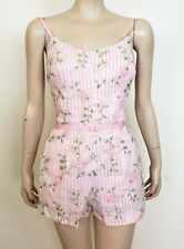 VTG 1950's 50s Tiki of Beverly Hills Pink Floral ROMPER PLAYSUIT SWIMSUIT sz S