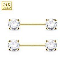 PAIR(2 lot) 14K Solid GOLD AAA+ Gem Nipple Rings Bars Barbells Piercing Jewelry