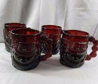 "Vintage Set Of 4 Ruby Red Glass Arcoroc France Embossed Snowman Mugs 4"" Mug"