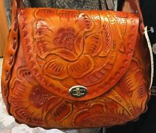 Authentic Mexican Large Hand Tooled Red Glossy Tan Handbag Embossed Flower NWOTS