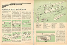 1972 2 Page Print Article of Remington Model 878 Shotgun Parts List Disassembly