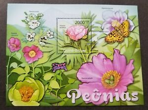 [SJ] Guinea Bissau Butterfly 2011 Insect Flower Flora Fauna (ms) MNH