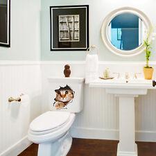 Extraíble DIY 3D Cat Baño WC Pegatinas de pared Calcomanías de Vinilo MuralCK