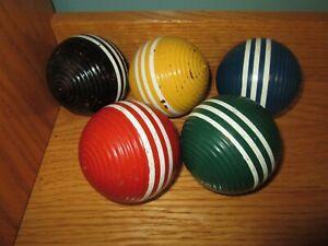 Vintage Set of 5 Forster Croquet Balls 3 White Stripes Ribbed 3 Inch