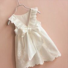 US Summer Kids Baby Girl Lace Bow Flower Princess Dresses Party Pageant Clothes
