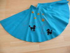 1950`s Original Turquoise Full Circle  Skirt  Heavy Felt Poodle Skirt