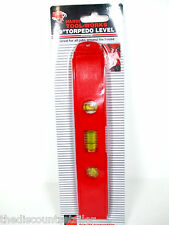 """NEW 9"""" TORPEDO LEVEL RED PLASTIC WITH MAGNETIC STRIP CARPENTERS PLUMBING LEVELS"""