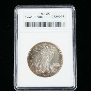 1942-D 50¢ Walking Liberty Half Dollar Coin, Graded MS-65,  KM# 142