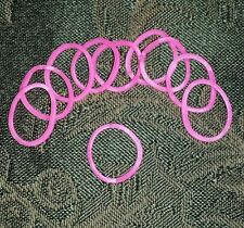 WOMENS 10 BREAST CANCER AWARENESS PINK SILIOCONE RUBBER RINGS New