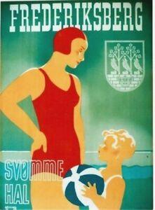Original vintage poster FREDERIKSBERG SWIMM HALL 1938