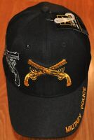 New Black US Army Military Police Hat Ball Cap Veteran Cross Guns Licensed
