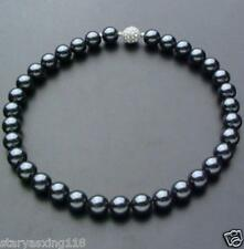 "10mm AAA Black South Sea Shell Pearl Necklace 18"" Crystal magnet clasp"
