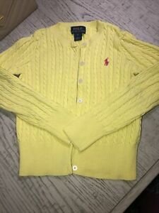 Ralph Lauren Girls Cable Sweater Cardigan Button Up Yellow Size 6X