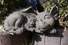 Gartendrache Mutter mit Baby Drache Figur Deko Gartenfigur 30 cm