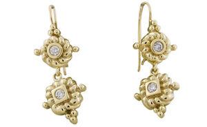 14K Yellow Gold .16 CTW Round Shape Natural SI Diamond Drop Dangle Hook Earrings