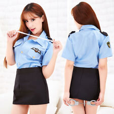 Policewomen Police Sexy Revealing Costumes Adult Toy Deep V for Women Shirt Cop