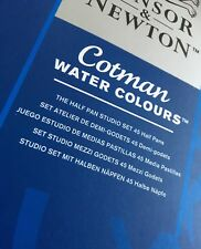 FREE POST new WINSOR & NEWTON Cotman Water Colour Paints 45 Half Pans TATTY BOX