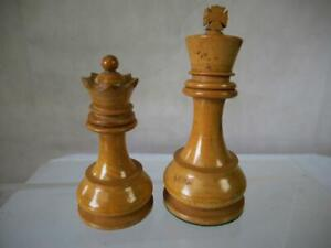 ANTIQUE CHESS PIECES LOADED STAUNTON PATTERN STAMPED L.O.W.P - K 98mm