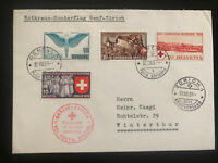 1939 Geneva Switzerland Red Cross Special Flight Airmail cover to Zurich Sc#C22
