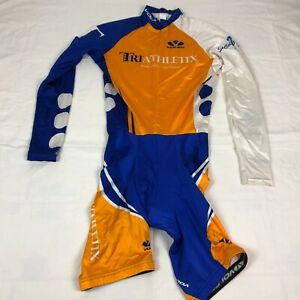Voler Cycling Jersey Skinsuit Adult Medium Blue White Gold Speedsuit Long Sleeve