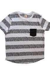 Victoria's Secret PINK Leopard Striped Short Sleeve Pocket Tee TShirt White L