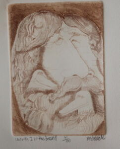Unusual Vintage Early Don Nedobeck Etching Worth 2 in The Beard Bird Art Print