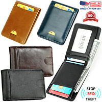 Men's RFID Blocking Full Grain Leather ID Windows Slim and Compact Bifold Wallet