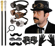 Men/'s Victorian Steampunk Set Round Glasses, Pipe, Gloves, Bow Tie, Moustache