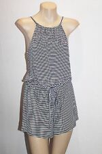 SUPRE Designer Black White Mini Stripe High Neck Playsuit Size XS BNWT #SF97