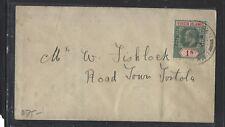 VIRGIN ISLANDS (P1712B) KE 1/- SINGLE FRANK ON LOCAL COVER