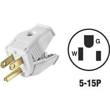 100 Pk Leviton White 15A 3-Wire 2-Pole 5-15P Clamp Tight Cord Plug 002-3W101-0WH