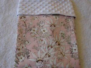 Gumnut Babies Pink Cotton Front White Minky Reversible Baby Blanket Handmade