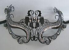 Black Filigree Metal Masquerade Mask No 28 - Express Post Available