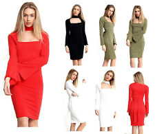 New Ladies Womens Long Flared Sleeve Choker Neck Evening Formal Party Dress