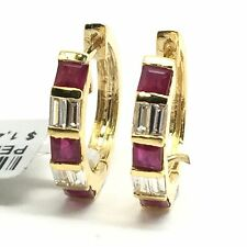 14K Yellow Gold Ruby Diamond Hoop Earrings. July And April Birthstone