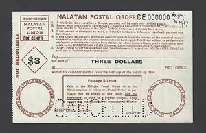 Malaysia - Malaya Postal Order 3 Dollars  Specimen Proof Rare