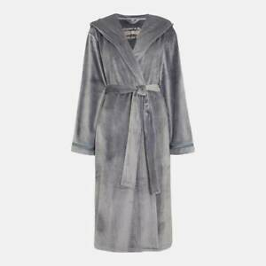 B by Ted Baker - Grey 'Moleskin' Hooded Long Dressing Gown/ Robe Size 8-10
