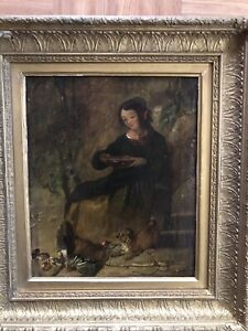 """Sir Edwin Landseer 1835 """"Lady With Puppy & Chicken"""" Original Signed Oil Painting"""