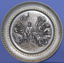 Decorative Pewter Gilded Relief Wall Hanging Plate