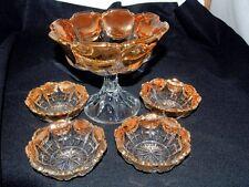Clear Depression Glass Ribbed Gold Scalloped Rim Compote Pedestal Bowl Set