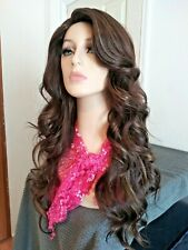 Long brown curly wave wig, blonde highlights, natural part and hairline, 24 in