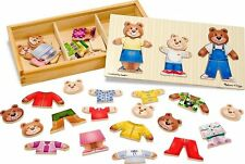 Melissa and Doug Wooden Bear Family Dress-Up Puzzle , New, Free Shipping