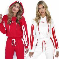 Womens 2 PCS Tracksuits Sets Patchwork Sportwear Cropped Hoodie Sweatshirt Pants