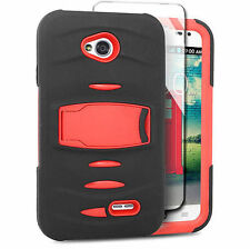 For LG Optimus L70 Exceed 2 Hard Phone Case Cover with Kickstand + Screen Red