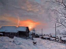 ORIGINAL RUSSIAN WINTER  SNOWY SUNSET LANDSCAPE ART OIL PAINTING OF VILLAGE DOG