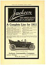 1910/11 Jackson Automobile Co Ad: 6 Models & Specs, Michigan. Rev Side REO Car