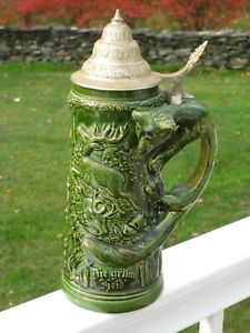 Vintage German Beer Stein - Fox Handle