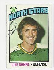Lou Nanne Minnesota North Stars Autographed 76/77 Topps Hockey Card To Patrick
