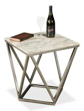 """20"""" W Set of 2 Side Table One of a Kind Marble Modern Iron Base Triangle Detail"""